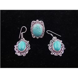 Turquoise 3 Pc Sterling German Ring & Earrings Set