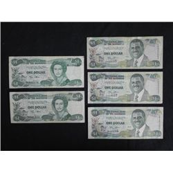 5 Pcs One Dollar Paper Currency Bahamas 2001, 2002
