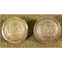 2 West Virginia State Seal Antique Gilt Buttons