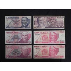 6 Pcs Mexico Currency 20, 50, 100 Pesos