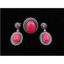 Red Coral 3 Pc Sterling German Ring & Earrings Set