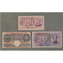 3 Old Bank Notes Bank of England & Switzerland 1969-72