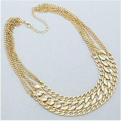 Glamorous Gold Tone Earring/Necklace Set