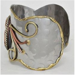Rhodium & Gold Tone Cuff Bracelet w/Blue Mosaic