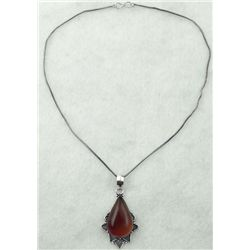 Pear Sterling Carmel Brown Pendant Cabochon Necklace