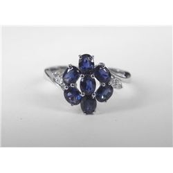 10K White Gold Blue Sapphire Ring w/ 7 Oval Stones