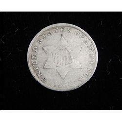 1852 3 Cent Silver Coin Hi-Grade