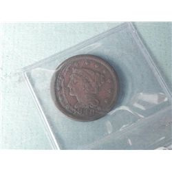 1848 Large Cent Coronet Head-High Grade, Detail, Sealed