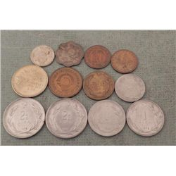 12 Old Coins Seychelles, Turkey, Yugoslavia