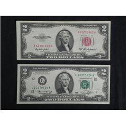2 Nice $2 Bills 1963-A Red Seal & 1976 L San Fran Note
