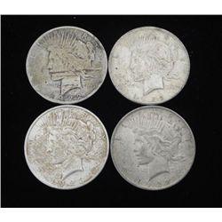 4 Silver Peace Dollars 1922, 1923