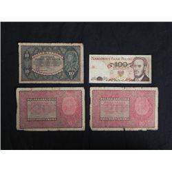 4 Pcs Polish Paper Money 10, 20, Marek 100 Sto Zlotych