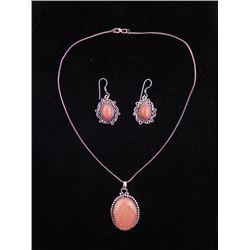 Red Sunstone 3 Sterling Earrings, Pendant Necklace Set