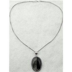 Sterling Black Cabochon Oval Pendant Necklace