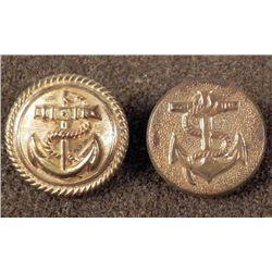 2 Spanish American War Antique Gilt Buttons
