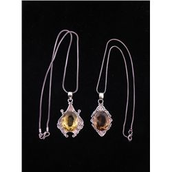 2 Yellow Topaz, Citrine Sterling Pendants, Necklaces