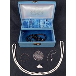 2 Tiered Jewelry Box w/ Necklaces, Pendants, Gold