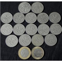 Mixed Lot 18 Mexican Coins $50, $20 1981-2000