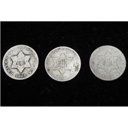 3 Silver 3 Cent U.S. Coins: 1851, 52, 53
