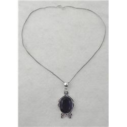 Amethyst Oval Silver Pendant Necklace