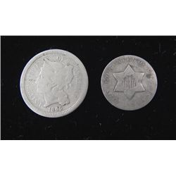 2 Type Coins 1851 3 Cent Silver & 1865 3 Cent Nickel