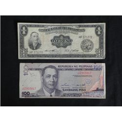 2 Philippines Bank Notes One Peso1949 100 Sandaang Piso