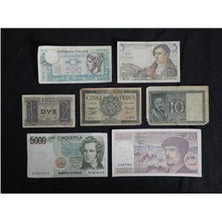 Mixed European Old Paper Money Algeria, France, Italy