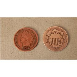 2 Nice Key US Coins 1869 Shield Nickel 1886 Indian Cent