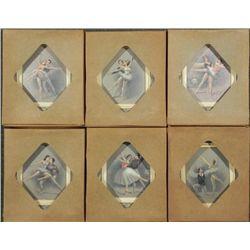 SIX VINTAGE (50'S) FANCY FRAMED BALLET ART PIECES GINA