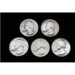 5 Diff Date Silver Washington Quarters 1934-1964