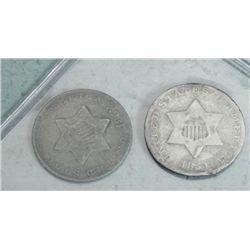 2 High Grade 3 Cent Silver Coins 1851 & 1852