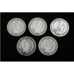 5 Diff Date Barber Silver Half Dollars 1908-1914