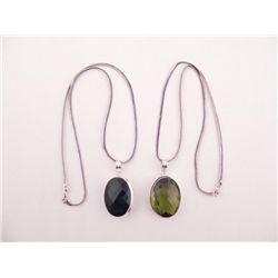 2 Sterling Pendants Lemon Quartz, Emerald, Necklaces