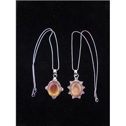 2 Carnelian Sterling Oval & Star Pendants, Necklaces