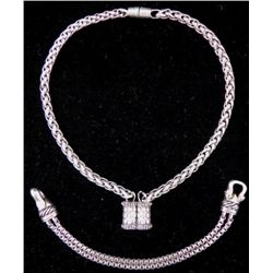 Silver Tone Magnetic Choker Necklace & Bracelet