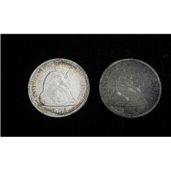 2 1872 U.S. Silver Half Dimes