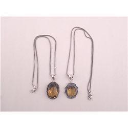 2 Different Citrine German Sterling Pendants, Necklaces