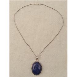 Blue Lapis Sterling Oval Pendant Necklace