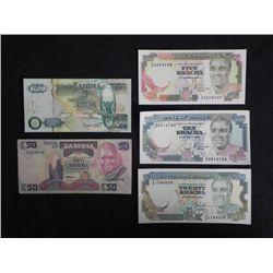 5 Pcs Paper Currency Notes Zambia Small UNC, 50 Kwacha