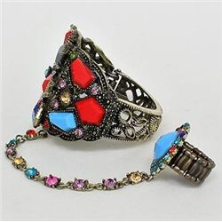 Bracelet w/ Attached Chain & Ring Set Blue & Red Stones
