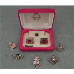 Enameled Cufflinks Set in Box & Pins Eagle, Flag, Horse