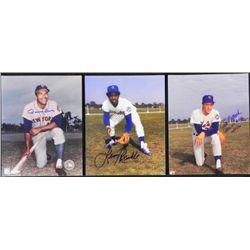 3) Signed NY Mets Photographs- Tommy Davis Jon Matlack