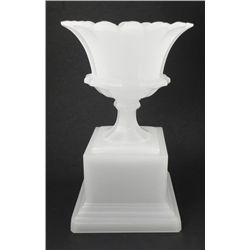 Antique Large White Glass Vase on Pedasetal Stand
