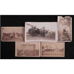 5 Antique Outdoor Photographs Rural, House, Motorcycle