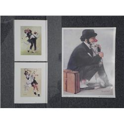 3 Robert Owen Hobo Clown Prints Dog, Tennis, Golf