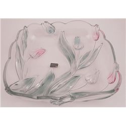 Mikasa Art Nouveau Glass Art Dish w/Colored Flowers