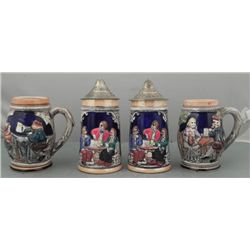 4 GERMAN BEER MUGS WITH COLORGUL SCENES-