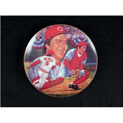 Johnny Bench Signed Fame at the Plate Collector Plate