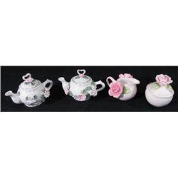 4 Pc Ceramic Doll Tea Set Teapots Seymour Mann Romance