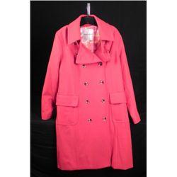 Isaac Mizrahi Ladies Red Wool Designer Coat Size XL